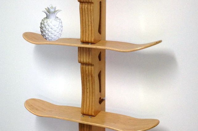 a skateboard inspired shelf