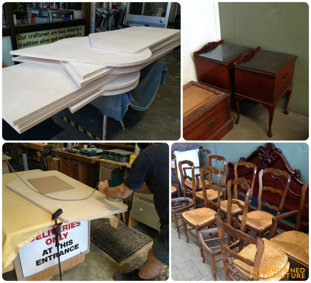 upper l-r : birch ply work stations, cedar sidetables for restoration bottom l-r: birch ply tops, oak rattan restorations