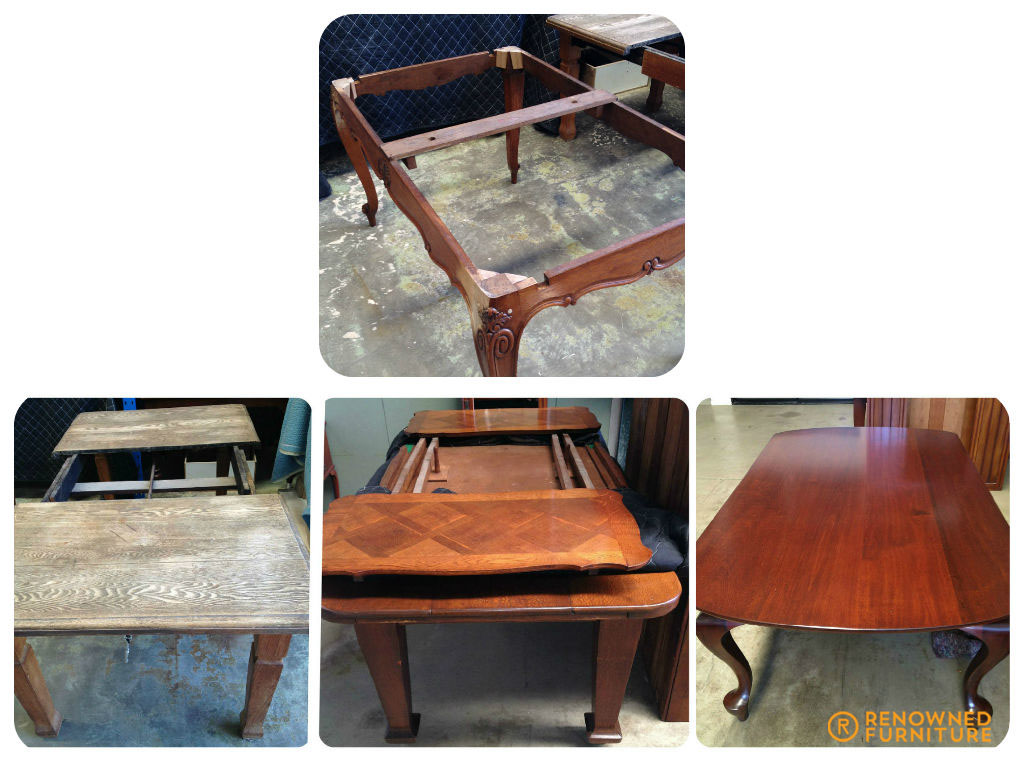 caption - top: antique oak repair bottom l-r: oak extension,silky oak and inlay oak tables in the que, cedar table restoration
