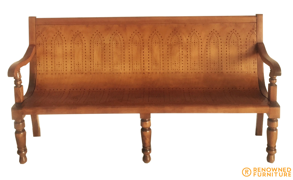 Renowned-converted seat from a church pew