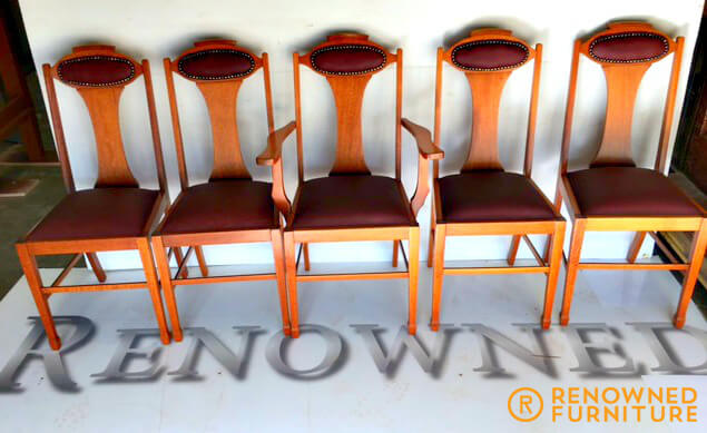 Five Restored silky oak chairs