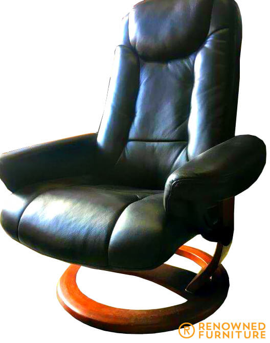Restored black leather office chair