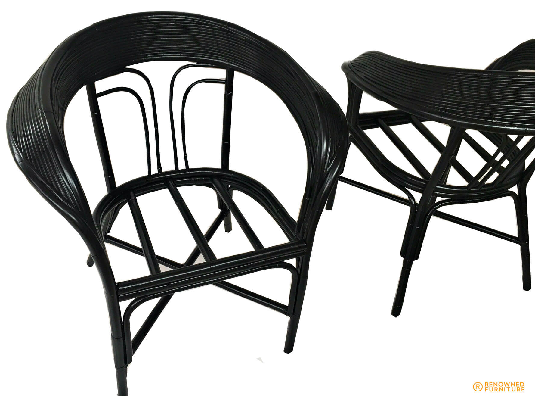 Restored collar back cane chairs